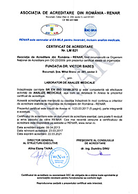 RENAR Certificate of Accreditation Laboratory of Medical Analysis