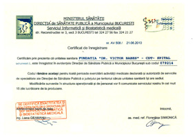 Certificate of registration in the records of the Bucharest Public Health Department