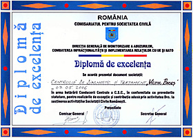 Diploma of excellence  supporting activity of the Romanian Civil Society